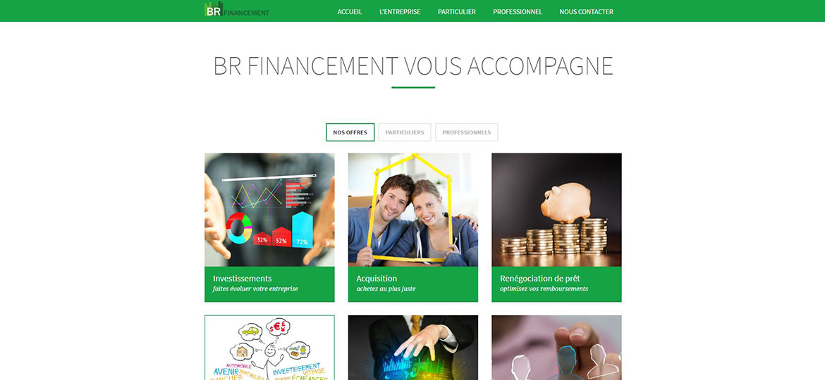 BR Financement One page accompagnement investissement responsive design